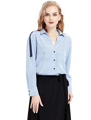 Basic Model Women Striped Button Down Lapel Shirts Roll Up Long Sleeve Blouses Casual V-Neck Chiffon Chic Tops