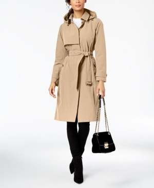 Michael Kors Michael Belted Hooded Trench Coat