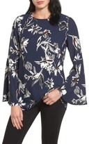 Petite Women's Halogen Bow Back Print Flare Sleeve Tunic