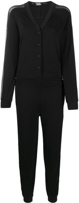 Karl Lagerfeld Paris Crepe Mesh Jumpsuit