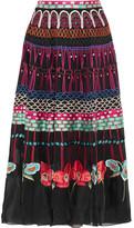 Temperley London Aura Embroidered Silk-organza Skirt - UK12