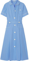 Miu Miu Belted Cotton-poplin Midi Dress - Light blue