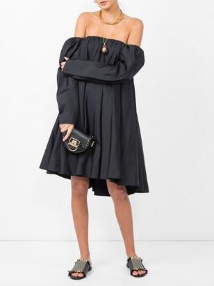 Calvin Klein bardot ruffled dress black