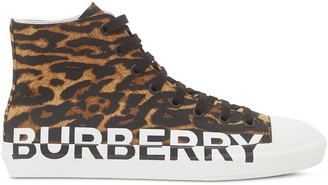 Burberry Leopard Print High-Top Sneakers