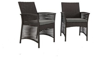 Bronx Reidsville Backyard Pool Rattan Wicker Patio Chair with Cushions Ivy Color: Chocolate