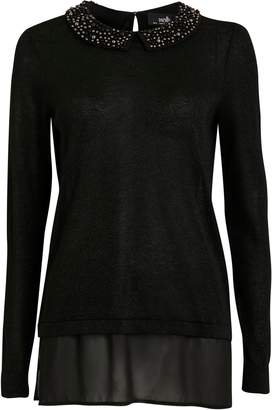 Wallis Black Embellished Collar 2 in 1 Jumper