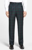 Men's Berle Pleated Plaid Wool Trousers