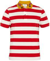 Gucci Embroidered striped polo shirt
