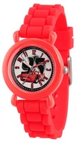 Cars Disney Lightning McQueen Boys' Red Plastic Time Teacher Watch, Red Silicone Strap, WDS000149