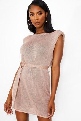 boohoo Shoulder Pad Metallic Knitted Dress