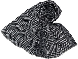 The Olive House Womens Dogtooth and Paisley Design Scarf Black