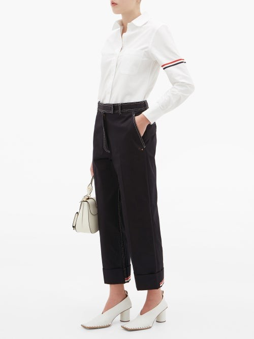 Thumbnail for your product : Thom Browne Topstitched Cotton-drill Chinos - Navy