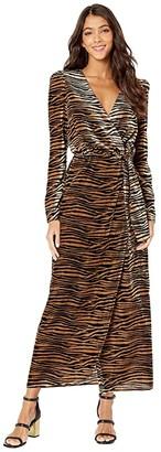 WAYF Arlene Midi Wrap Dress (Black/Camel Tiger Velvet) Women's Dress