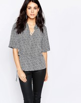 Vila 3/4 Sleeve Wrap Front Shirt In Animal Print