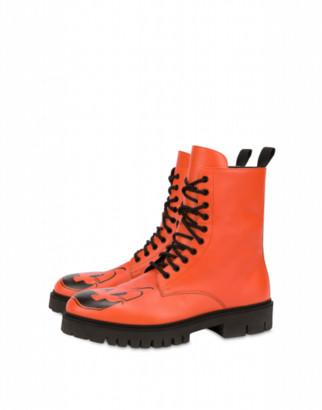 Moschino Pumpkin Faces Combat Boots