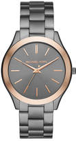 Michael Kors 42mm Slim Runway Bracelet Watch in Gunmetal/Rose Golden