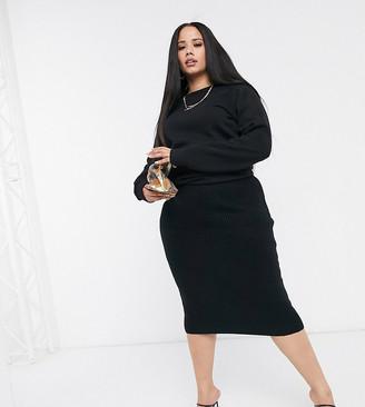 ASOS DESIGN Curve fluffy midi skirt in black