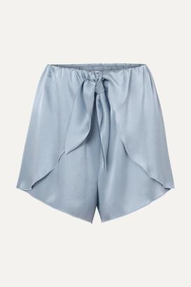 Nanushka Naila Knotted Silk-charmeuse Shorts - Sky blue
