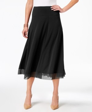 JM Collection Petite Mesh-Hem A-Line Skirt, Created for Macy's