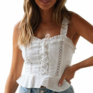 CUTUDE Women Casual Crop T Shirts Holiday Lace Ruffles Short Sleeve Summer Tee Blouse Tanks Tops Vest Ladies Fashion (White L)