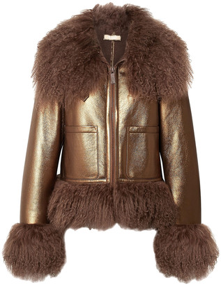 Michael Kors Collection Shearling-trimmed Metallic Textured-leather Biker Jacket