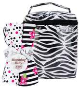 Trend Lab 21149 Bouquet Set - Black & White Zebra - Bottle Bag & Burp Cloth