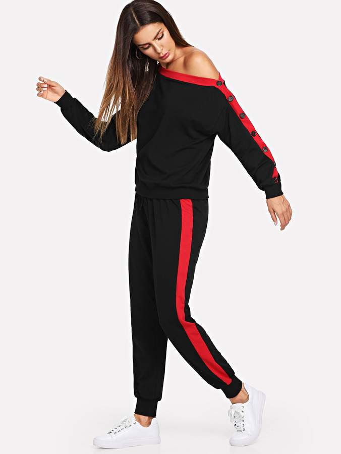 Asymmetrical Neck Button Side Top and Sweatpants Set