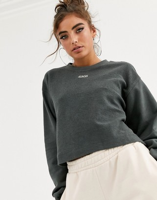 Asos 4505 4505 crop sweat with logo-Grey