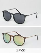 Asos 2 Pack Skinny Keyhole Retro Round Sunglasses Matt Black & Tort And Pink Flash lens
