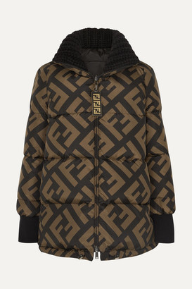 Fendi Reversible Wool Blend-trimmed Printed Quilted Down Ski Jacket - Black