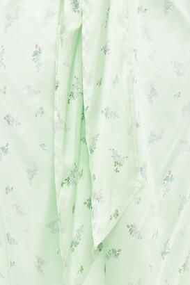 Ganni Knotted Floral-print Stretch-silk Satin Midi Skirt