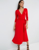 Asos Crepe Wrap Midi Dress