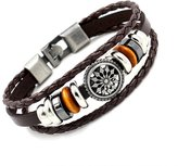 Gyand Vintage Alloy Charm Metal Bead Braided PU Zen Leather Bracelet Cuff ,8.5 inches