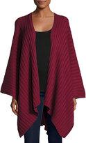 Neiman Marcus Rib-Knit Cotton Blanket Wrap, Malbec