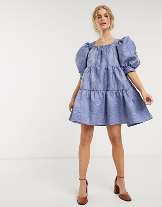 Sister Jane mini smock dress with tiered skirt and puff sleeves in rose jacquard