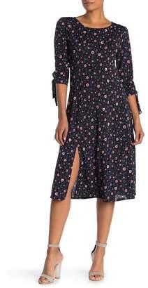 WEST KEI Tie Sleeve Floral Print Midi Dress