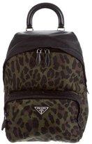 Prada Leopard Print Tessuto Backpack