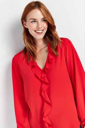Wallis Red Ruffle Front Blouse