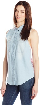 RD Style Women's Sleeveless Plaid Back Chambray Button Down Shirt