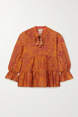 CHUFY Arequipa Tiered Printed Cotton And Silk-blend Voile Blouse - Orange