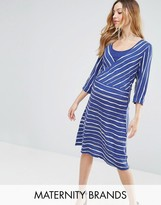 Mama Licious Mama.licious Mamalicious Stripe Dress With 3/4 Sleeve