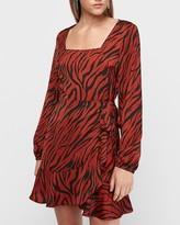 Express Tiger Print Square Neck Ruffle Wrap Mini Dress