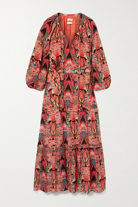 Chufy - Wayta Printed Crepe De Chine Maxi Dress - Orange
