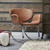Pulaski Faux Leather Metal Back Rocking Chair in Brown