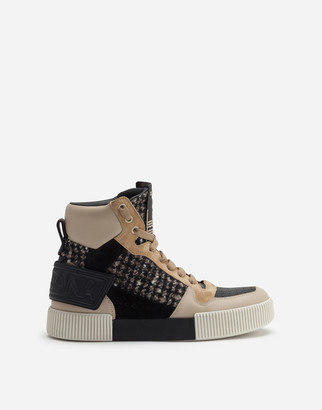 Dolce & Gabbana Miami High Top Sneakers In Houndstooth And Nappa Leather