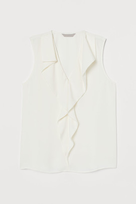 H&M Flounced Satin Blouse - White