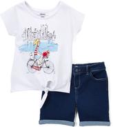 DKNY White Bicycle Tee & Dark Wash Shorts - Infant Toddler & Girls