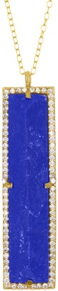 ADORNIA 14K Gold Plated Sterling Silver Halo Rectangle Lapis Pendant Necklace