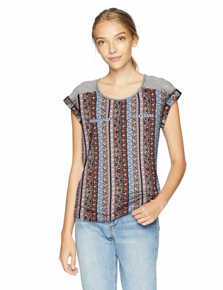 Amy Byer A. Byer Junior's Young Woman's Teen Mixed Fabric T-Shirt