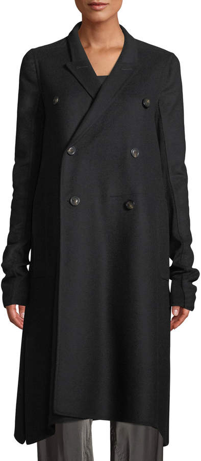 Rick Owens Double-Breasted A-Line Wool Pea Coat